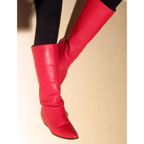 08fbc50a82c Vintage 80 s Ipanema Red Knee High Leather Boots. M 5b512251800deeaa90cc7c63